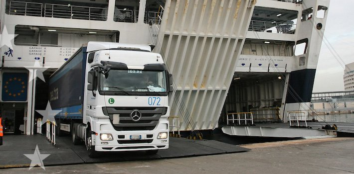 The loading of a truck onto a Ro-Pax vessel in Barcelona - seen during the MOST workshop