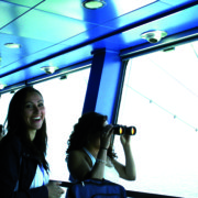 Participants visiting the bridge of the Ro-Pax vessel during the MOST course